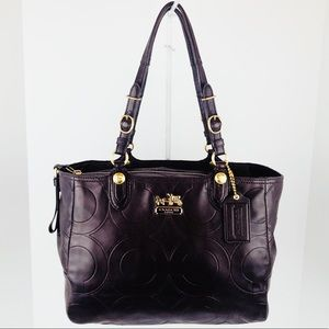 Coach MIA Embossed Op Art Leather Signature Tote